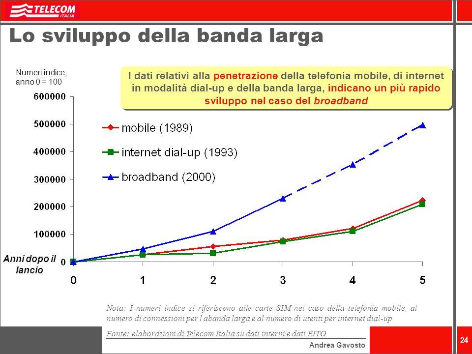 Andrea Gavosto 24 Lo sviluppo della banda larga Numeri indice, anno 0 = 100 Anni dopo il lancio I dati relativi alla penetrazione della telefonia mobile, di internet in modalità dial-up e della banda larga, indicano un più rapido sviluppo nel caso del broadband Nota: I numeri indice si riferiscono alle carte SIM nel caso della telefonia mobile, al numero di connessioni per l abanda larga e al numero di utenti per internet dial-up Fonte: elaborazioni di Telecom Italia su dati interni e dati EITO