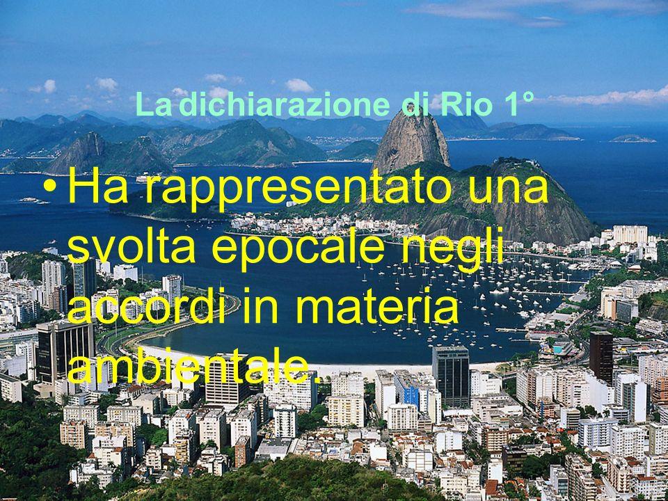 La dichiarazione di Rio 1° Ha rappresentato una svolta epocale negli accordi in materia ambientale.