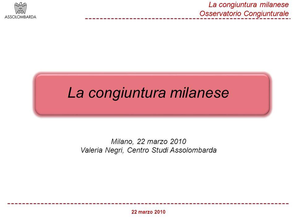 22 marzo 2010 La congiuntura milanese Osservatorio Congiunturale 2 Fonte: Assolombarda (Milano), ISAE (Italia), Commissione Europea (Area Euro, Francia e Germania) Clima di fiducia delle imprese manifatturiere 95 85 75 65 -5 - 15 - 25 - 35 set09