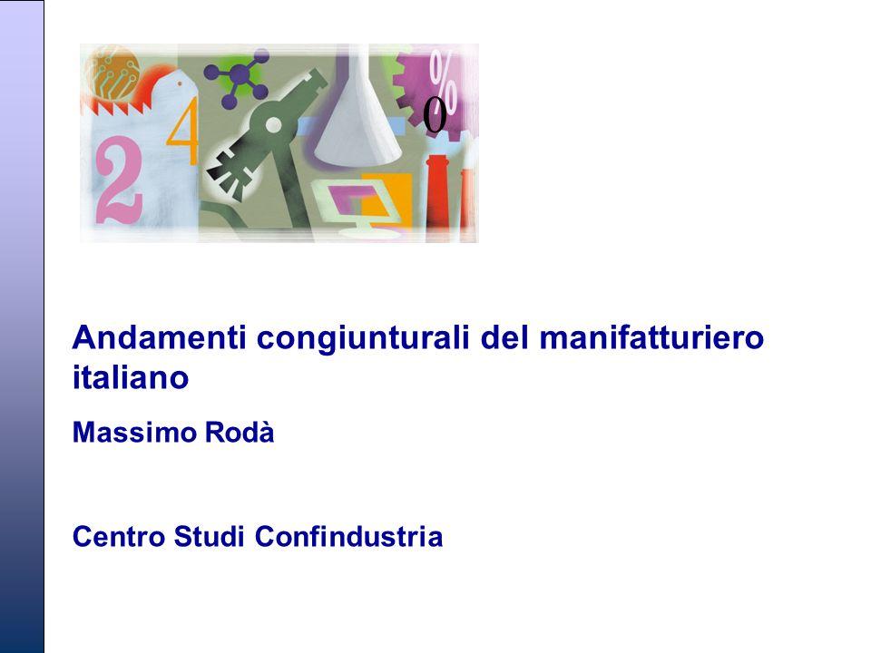 Massimo Rodà – Centro Studi Confindustria Andamenti congiunturali del manifatturiero italiano Massimo Rodà Centro Studi Confindustria 0