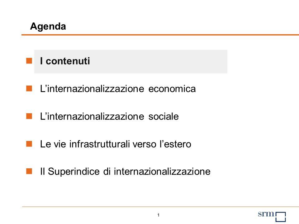 1 Agenda 1 I contenuti Linternazionalizzazione economica Linternazionalizzazione sociale Le vie infrastrutturali verso lestero Il Superindice di internazionalizzazione