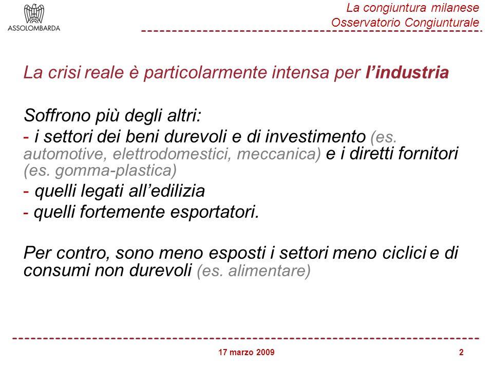17 marzo 2009 La congiuntura milanese Osservatorio Congiunturale 2 La crisi reale è particolarmente intensa per lindustria Soffrono più degli altri: - i settori dei beni durevoli e di investimento (es.