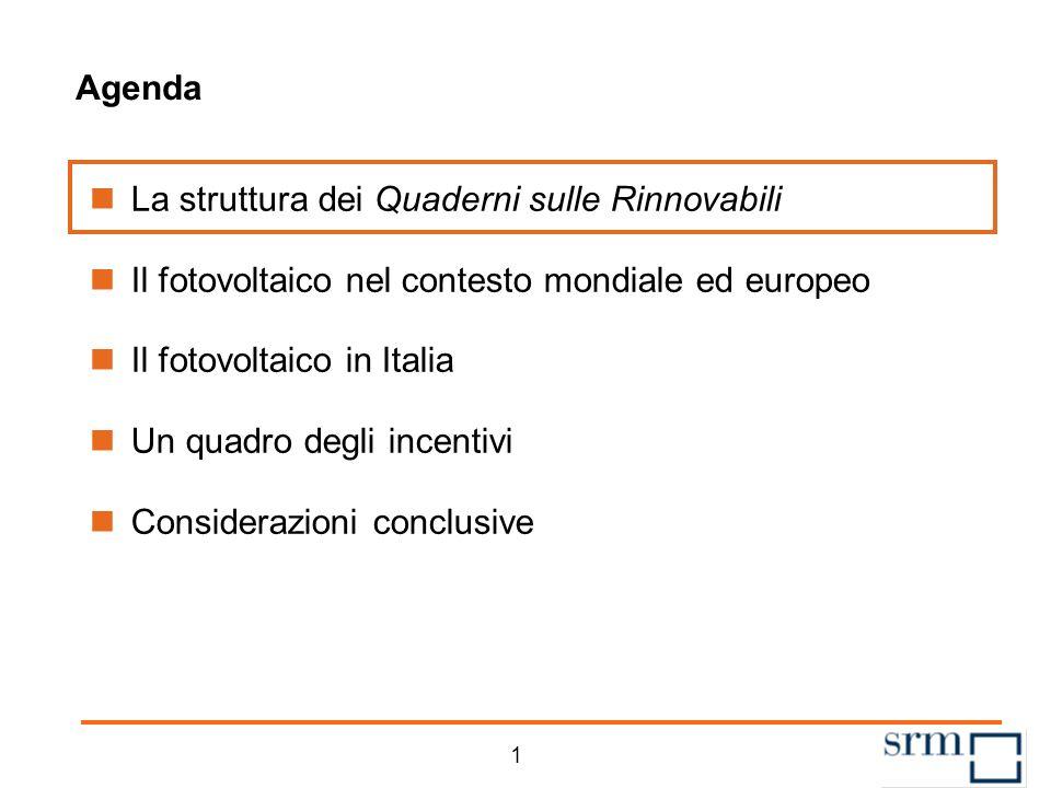 11 Agenda La struttura dei Quaderni sulle Rinnovabili Il fotovoltaico nel contesto mondiale ed europeo Il fotovoltaico in Italia Un quadro degli incentivi Considerazioni conclusive