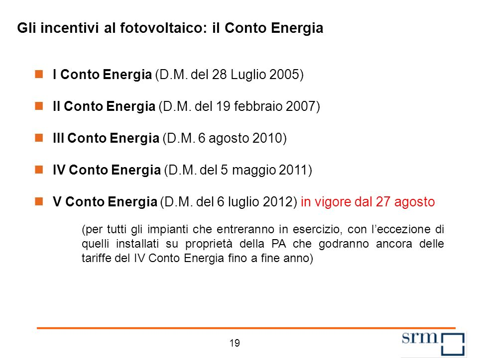 Gli incentivi al fotovoltaico Il Conto Energia -Il Conto Energia disciplina lerogazione degli incentivi all energia elettrica prodotta da un impianto fotovoltaico.