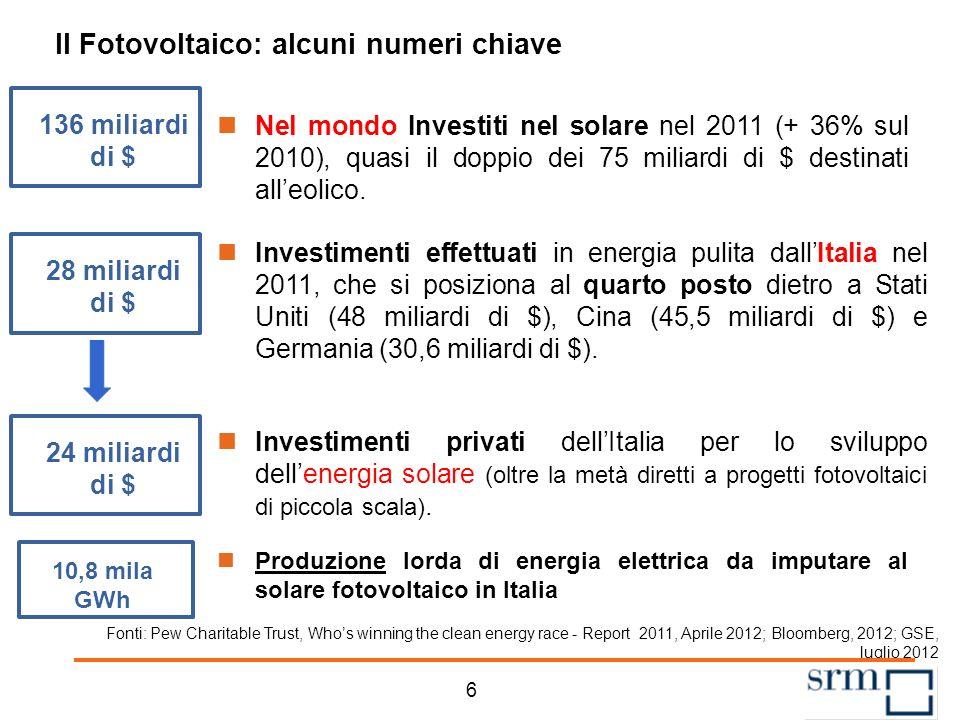 Agenda 5 La struttura dei Quaderni sulle Rinnovabili Il fotovoltaico nel contesto mondiale ed europeo Il fotovoltaico in Italia Un quadro degli incentivi Considerazioni conclusive
