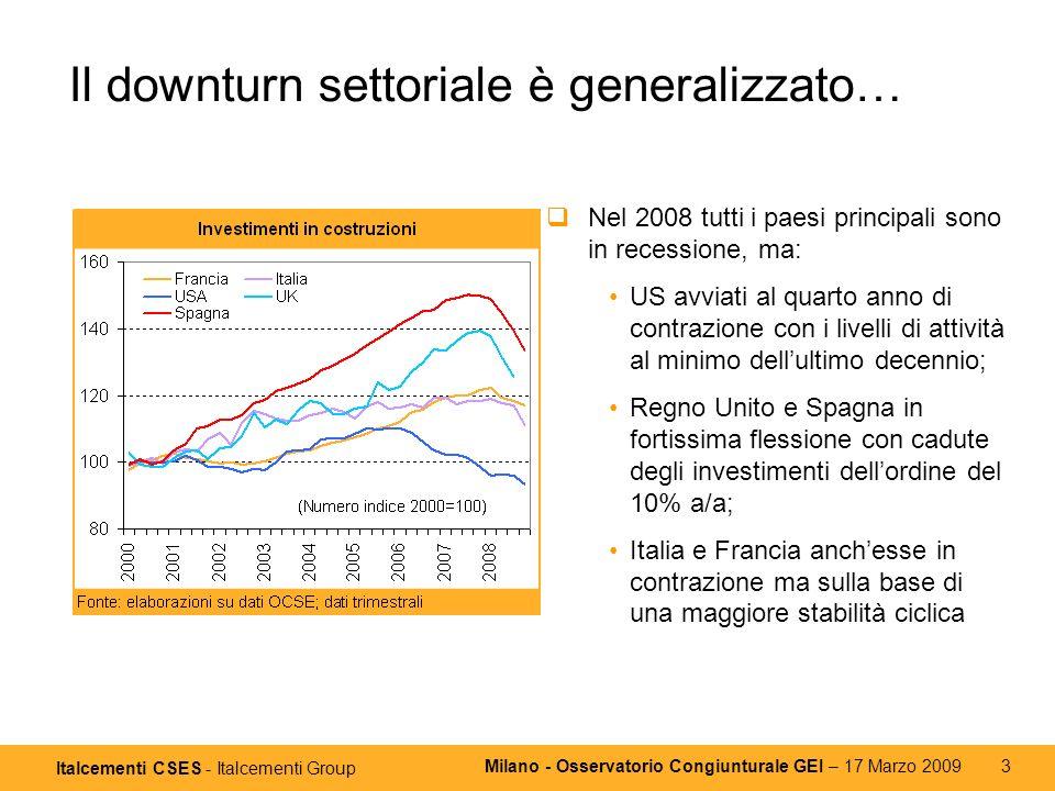 Italcementi CSES - Italcementi Group Milano - Osservatorio Congiunturale GEI – 17 Marzo 2009 3 Il downturn settoriale è generalizzato… Nel 2008 tutti i paesi principali sono in recessione, ma: US avviati al quarto anno di contrazione con i livelli di attività al minimo dellultimo decennio; Regno Unito e Spagna in fortissima flessione con cadute degli investimenti dellordine del 10% a/a; Italia e Francia anchesse in contrazione ma sulla base di una maggiore stabilità ciclica