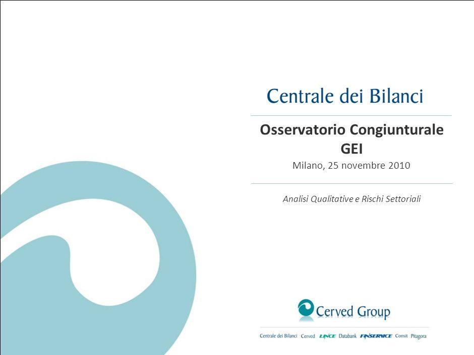 Osservatorio Congiunturale GEI Milano, 25 novembre 2010 Analisi Qualitative e Rischi Settoriali