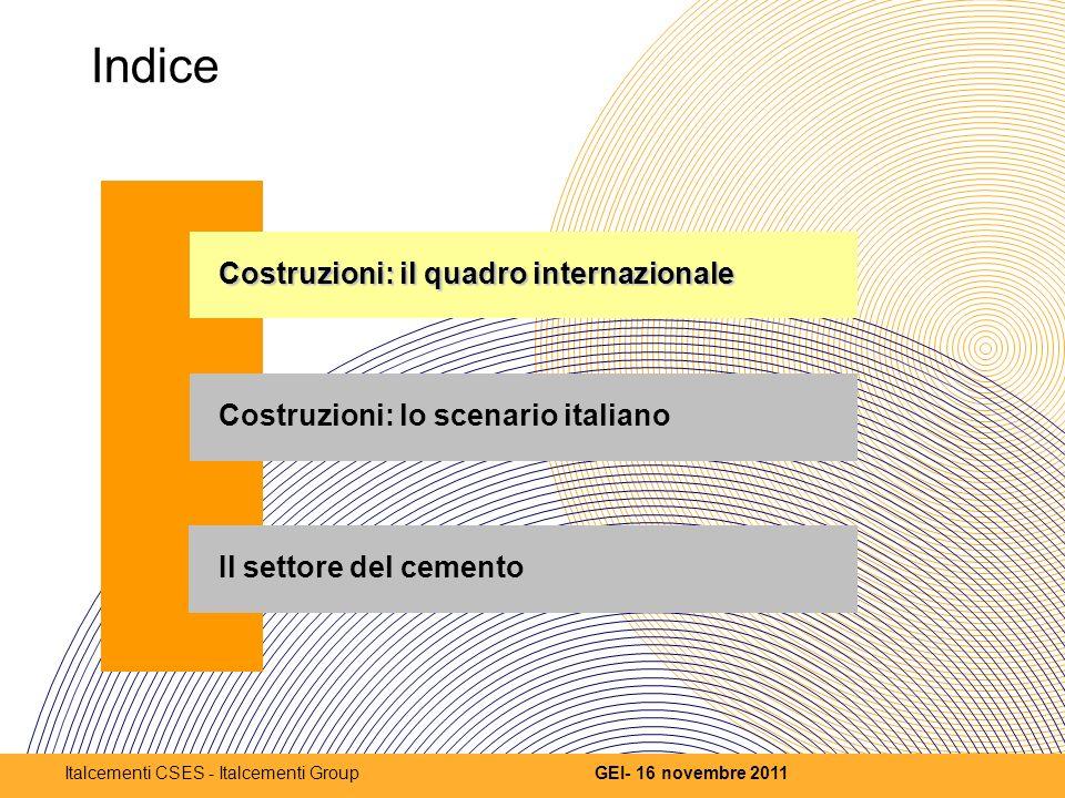 Indice Costruzioni: il quadro internazionale Costruzioni: lo scenario italiano Il settore del cemento 2 GEI- 16 novembre 2011Italcementi CSES - Italcementi Group