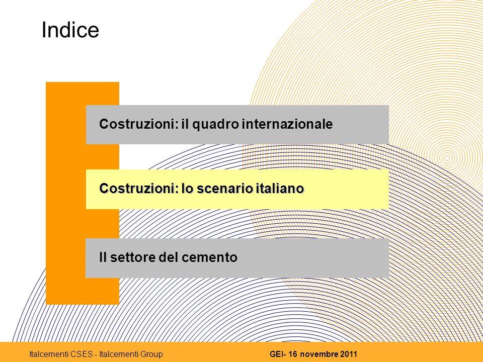 Indice Costruzioni: il quadro internazionale Costruzioni: lo scenario italiano Il settore del cemento 7 GEI- 16 novembre 2011Italcementi CSES - Italcementi Group
