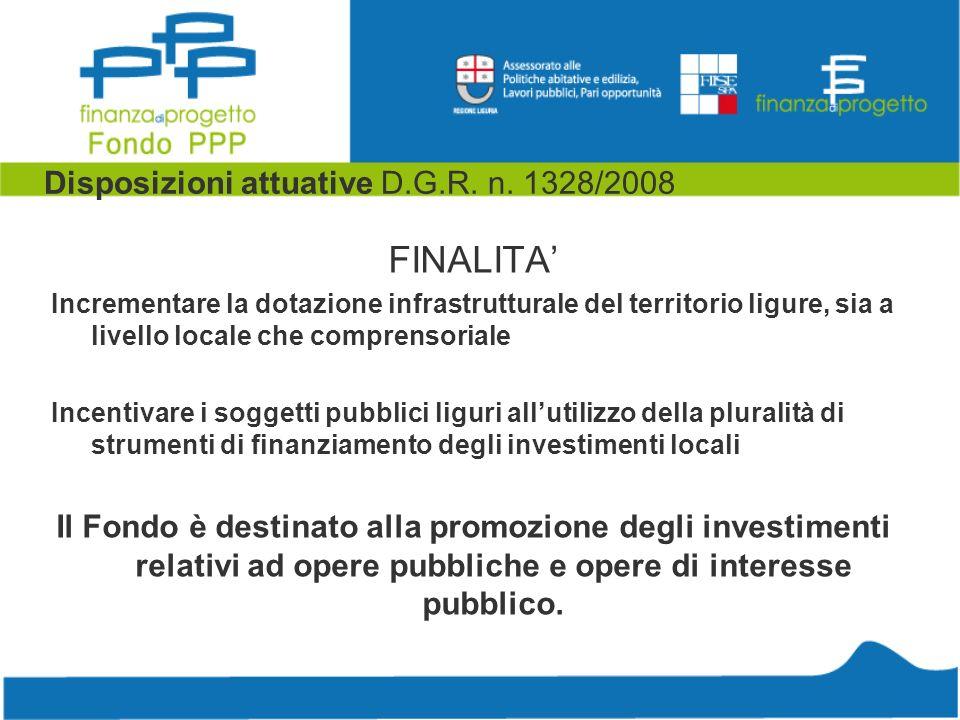 Disposizioni attuative D.G.R. n. 1328/2008 FINALITA Incrementare la dotazione infrastrutturale del territorio ligure, sia a livello locale che compren