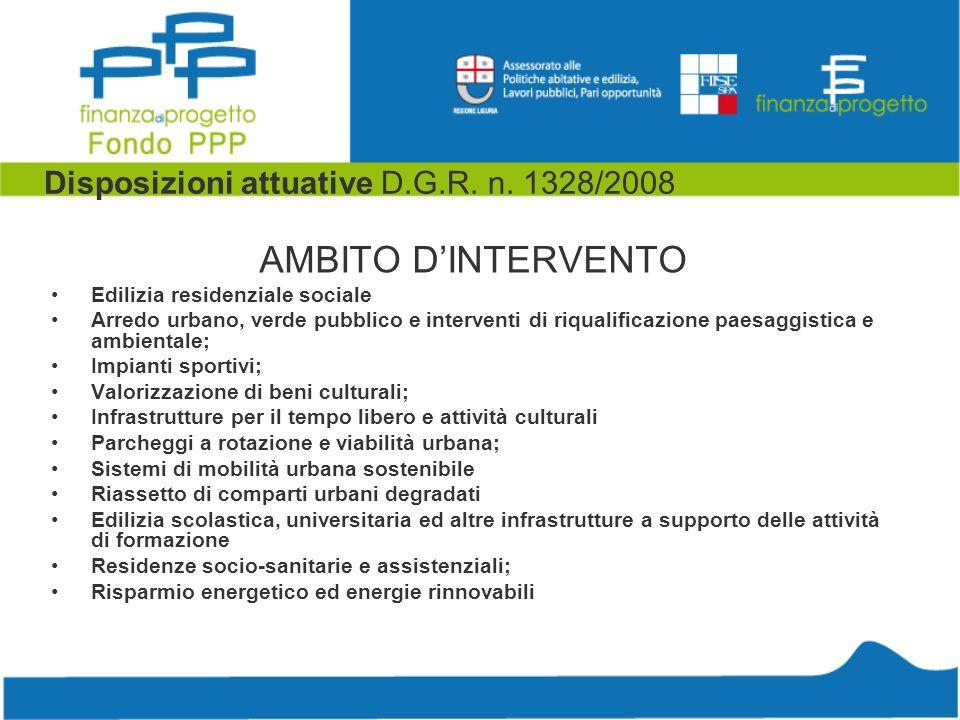 Disposizioni attuative D.G.R. n. 1328/2008 AMBITO DINTERVENTO Edilizia residenziale sociale Arredo urbano, verde pubblico e interventi di riqualificaz
