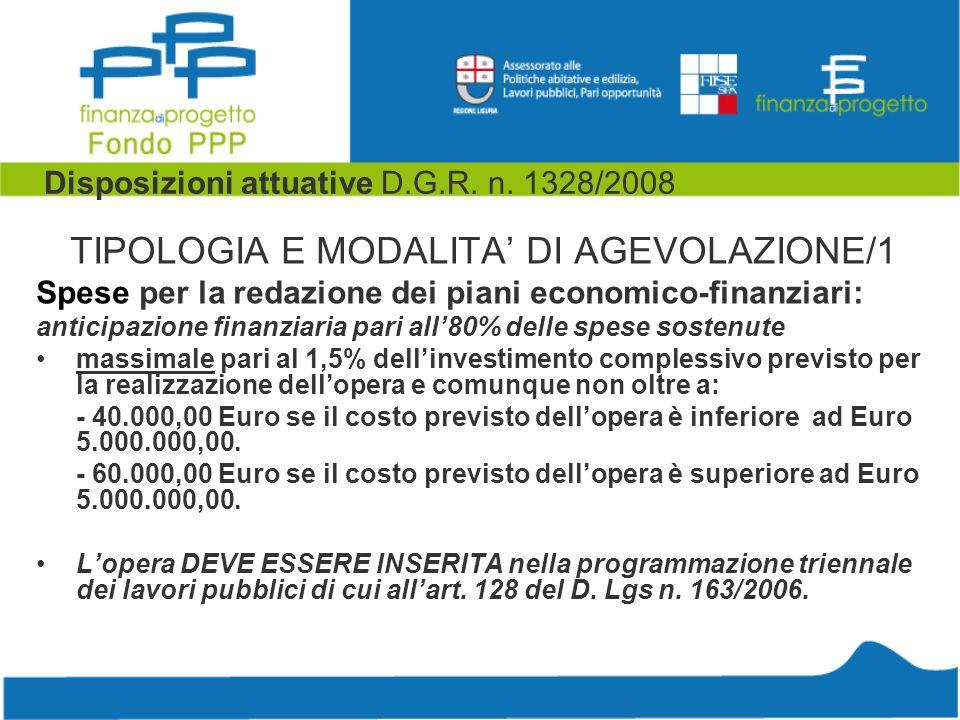Disposizioni attuative D.G.R. n. 1328/2008 TIPOLOGIA E MODALITA DI AGEVOLAZIONE/1 Spese per la redazione dei piani economico-finanziari: anticipazione