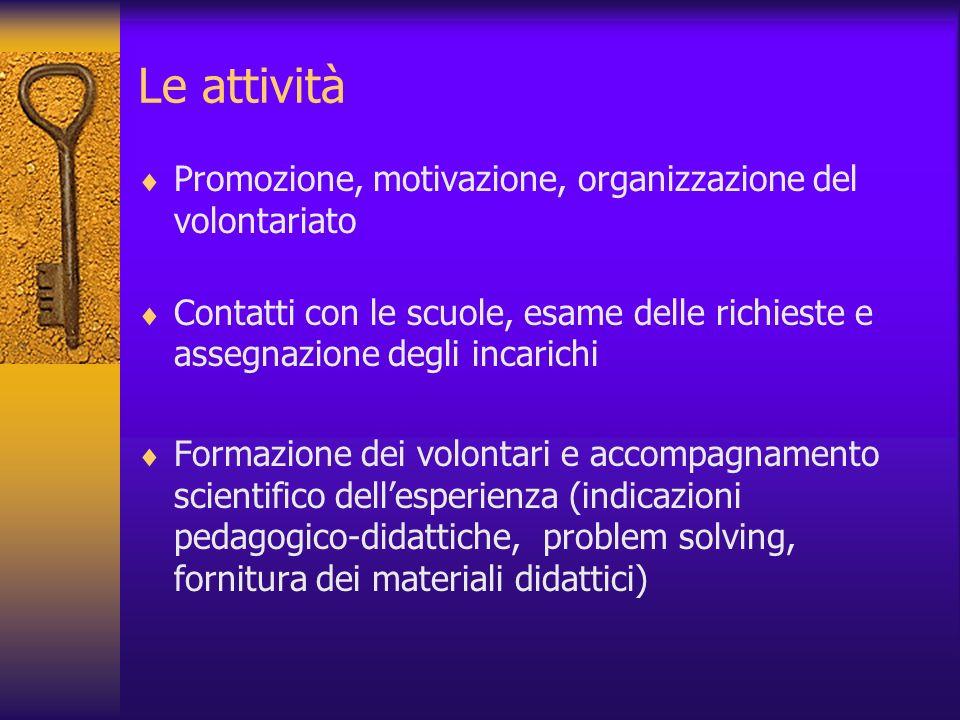 Le attività Promozione, motivazione, organizzazione del volontariato Contatti con le scuole, esame delle richieste e assegnazione degli incarichi Form