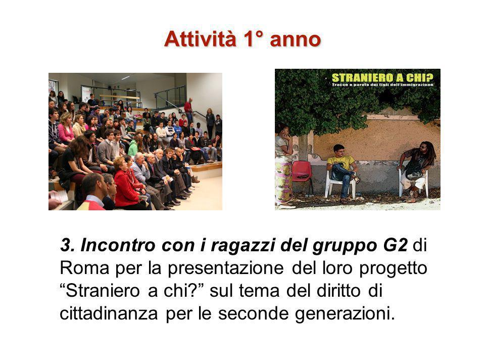 Attività 1° anno 3. Incontro con i ragazzi del gruppo G2 di Roma per la presentazione del loro progetto Straniero a chi? sul tema del diritto di citta