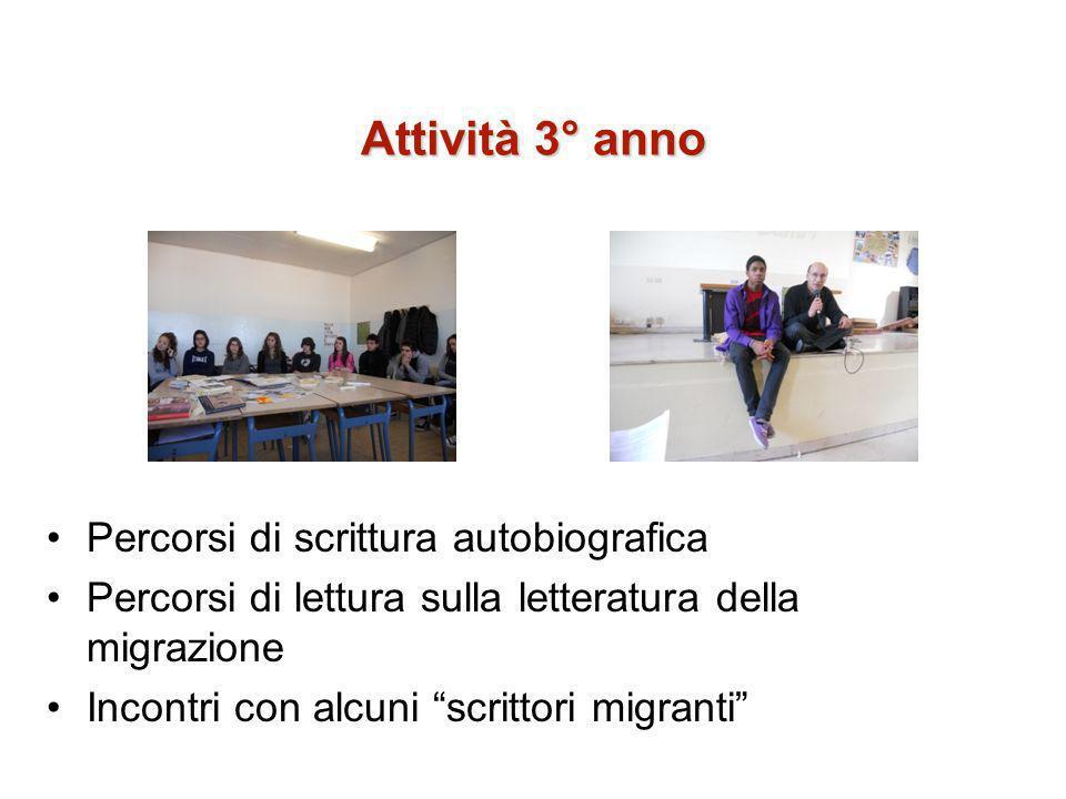 Attività 3° anno Percorsi di scrittura autobiografica Percorsi di lettura sulla letteratura della migrazione Incontri con alcuni scrittori migranti