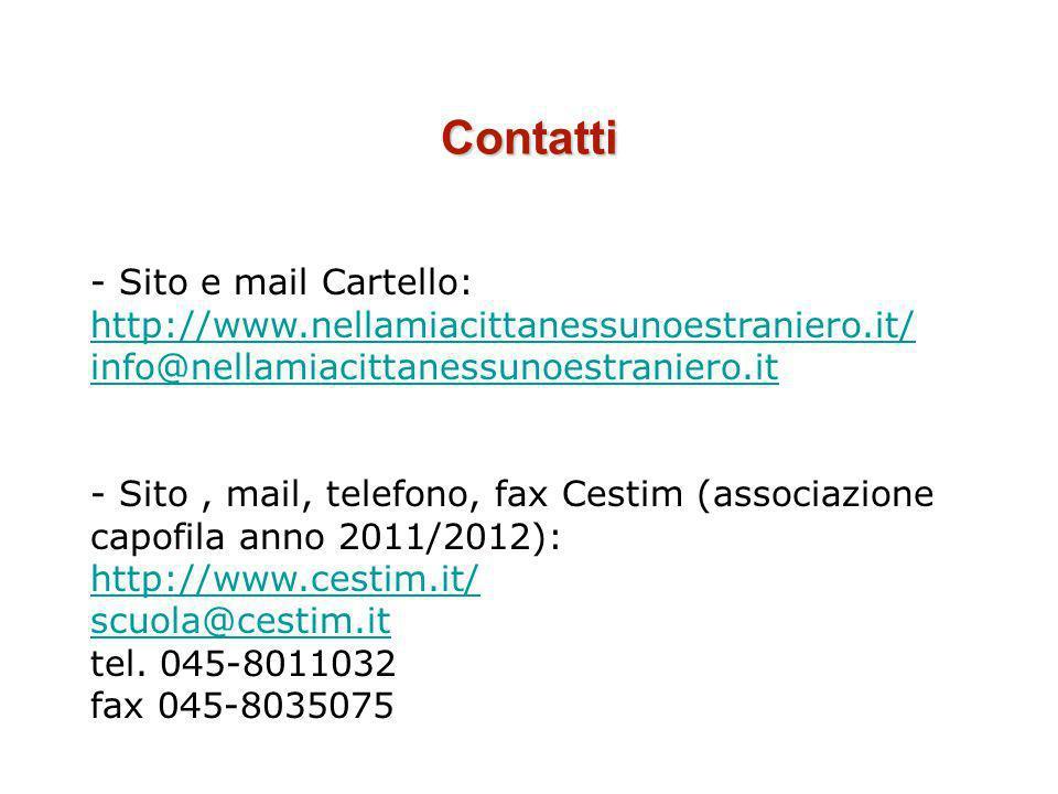 Contatti - Sito e mail Cartello: http://www.nellamiacittanessunoestraniero.it/ http://www.nellamiacittanessunoestraniero.it/ info@nellamiacittanessuno