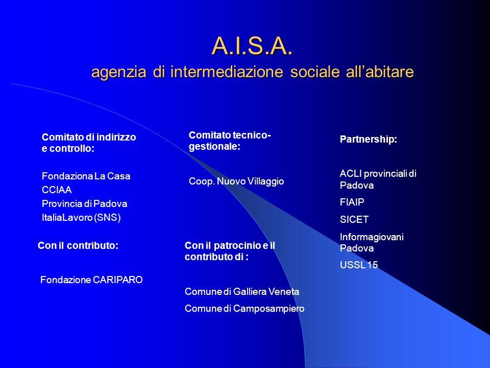 A.I.S.A. agenzia di intermediazione sociale allabitare Comitato di indirizzo e controllo: Fondaziona La Casa CCIAA Provincia di Padova ItaliaLavoro (S