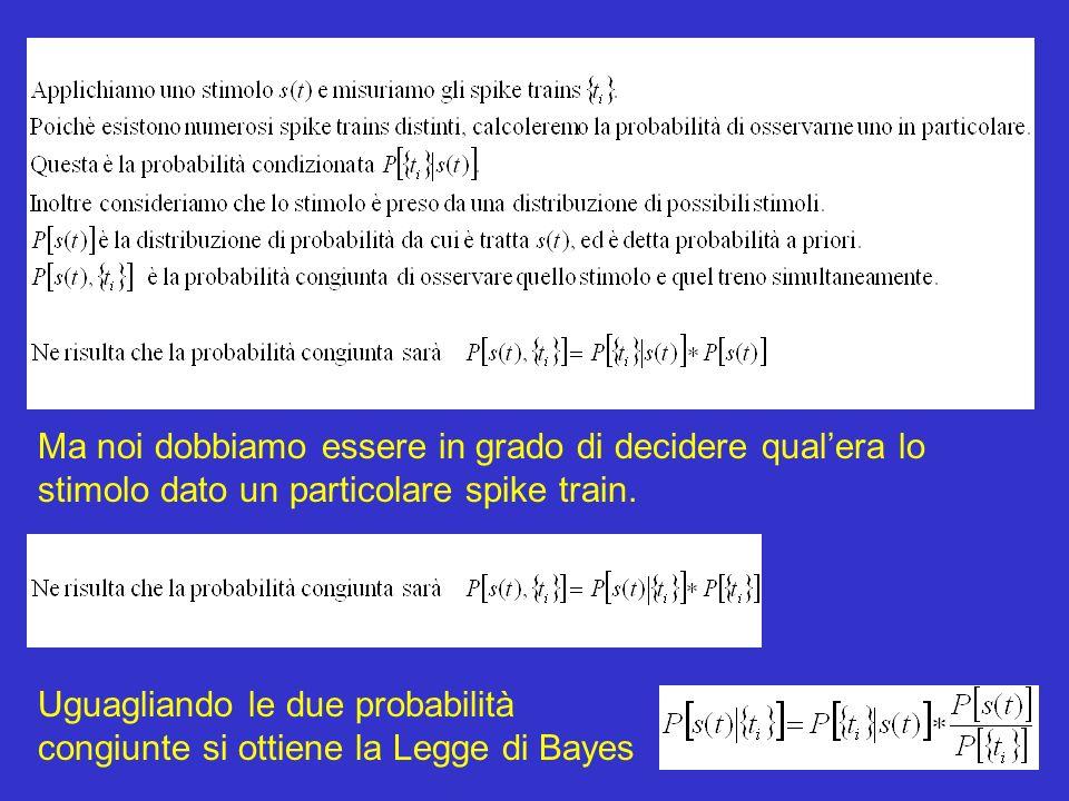 Uguagliando le due probabilità congiunte si ottiene la Legge di Bayes Ma noi dobbiamo essere in grado di decidere qualera lo stimolo dato un particolare spike train.