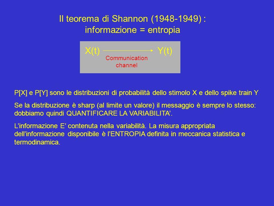 Il teorema di Shannon (1948-1949) : informazione = entropia X(t) Y(t) Communication channel P[X] e P[Y] sono le distribuzioni di probabilità dello stimolo X e dello spike train Y Se la distribuzione è sharp (al limite un valore) il messaggio è sempre lo stesso: dobbiamo quindi QUANTIFICARE LA VARIABILITA.