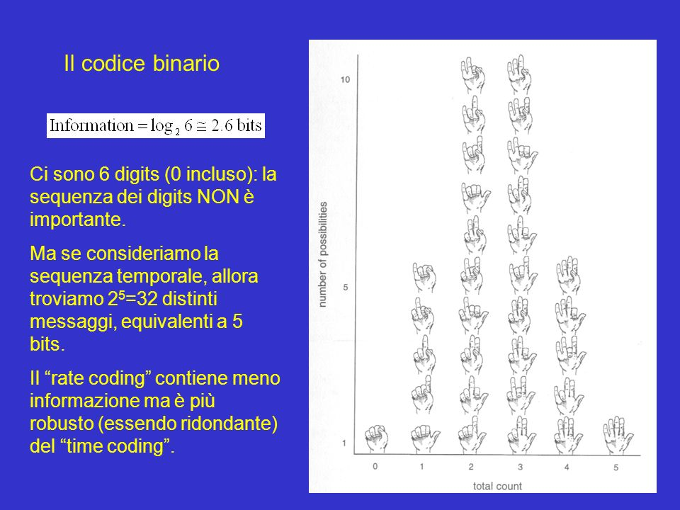 Il codice binario Ci sono 6 digits (0 incluso): la sequenza dei digits NON è importante. Ma se consideriamo la sequenza temporale, allora troviamo 2 5