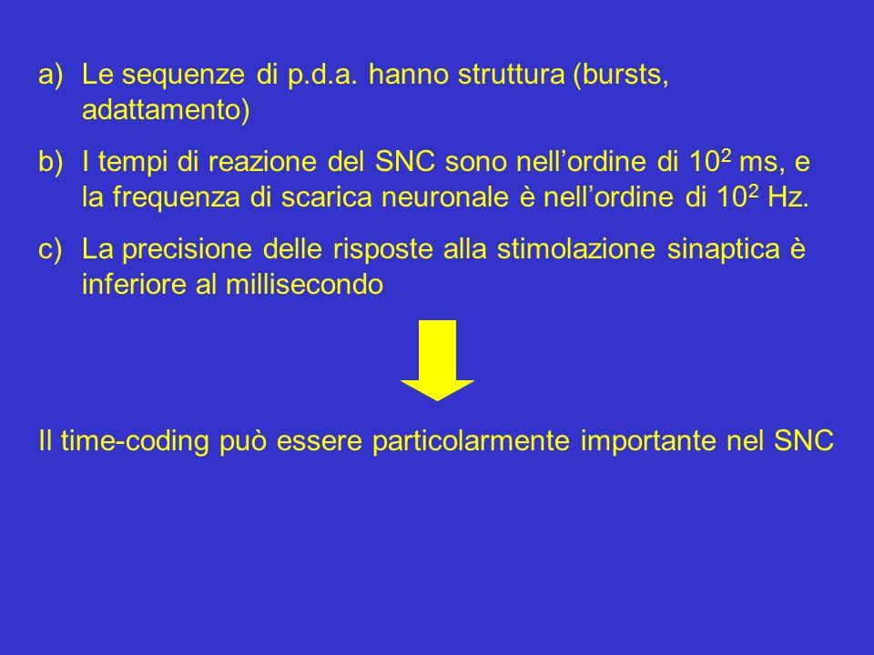 a)Le sequenze di p.d.a. hanno struttura (bursts, adattamento) b)I tempi di reazione del SNC sono nellordine di 10 2 ms, e la frequenza di scarica neur