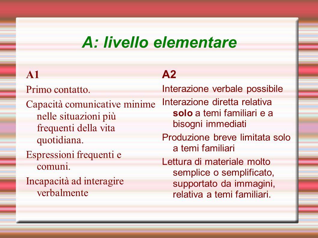 A: livello elementare A1 Primo contatto. Capacità comunicative minime nelle situazioni più frequenti della vita quotidiana. Espressioni frequenti e co