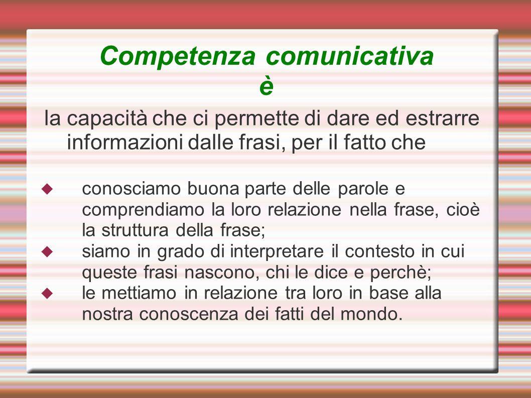 Competenza comunicativa è la capacità che ci permette di dare ed estrarre informazioni dalle frasi, per il fatto che conosciamo buona parte delle paro