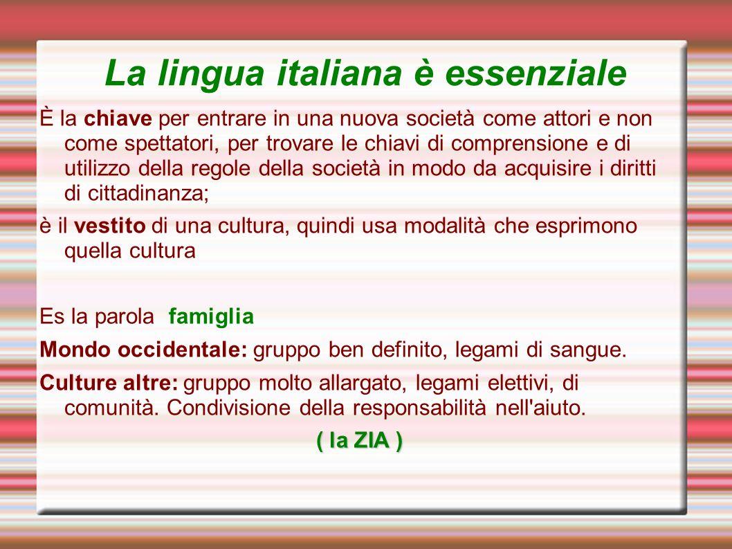 La lingua italiana è essenziale È la chiave per entrare in una nuova società come attori e non come spettatori, per trovare le chiavi di comprensione