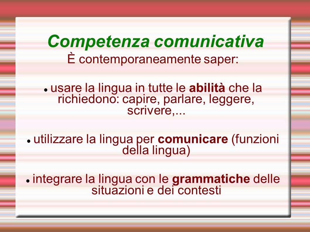 Competenza comunicativa È contemporaneamente saper: usare la lingua in tutte le abilità che la richiedono: capire, parlare, leggere, scrivere,... util