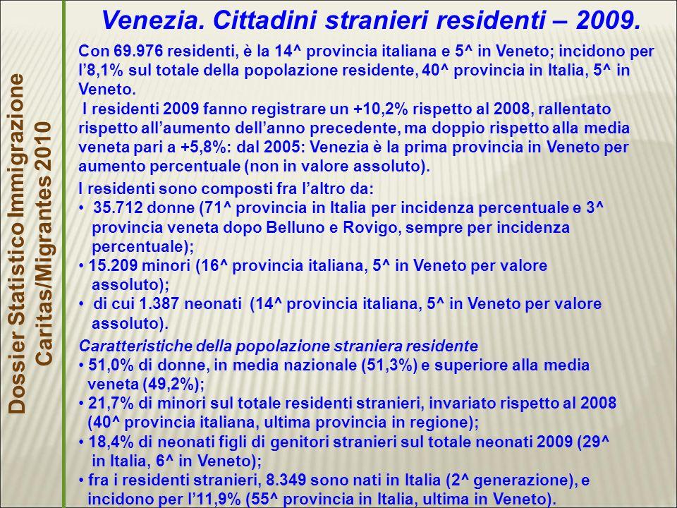 Dossier Statistico Immigrazione Caritas/Migrantes 2010 Venezia.
