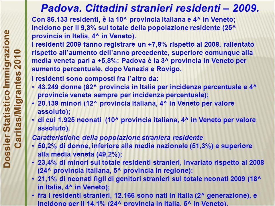 Dossier Statistico Immigrazione Caritas/Migrantes 2010 Padova.