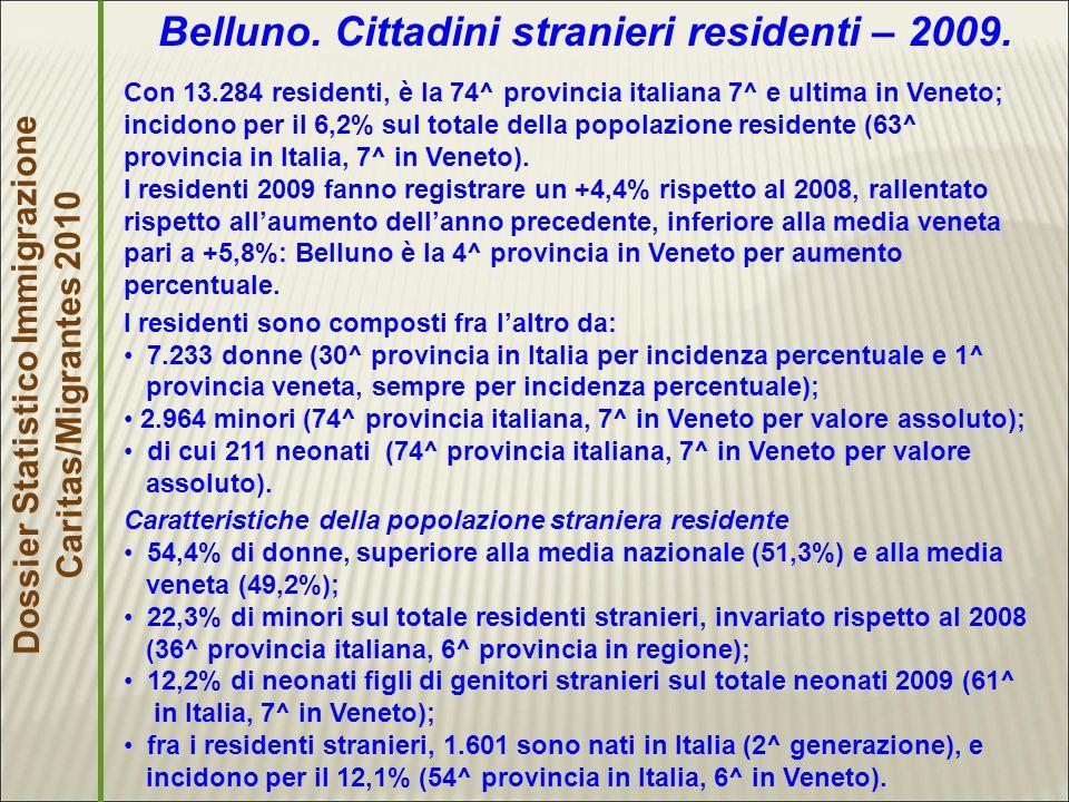 Dossier Statistico Immigrazione Caritas/Migrantes 2010 Belluno.