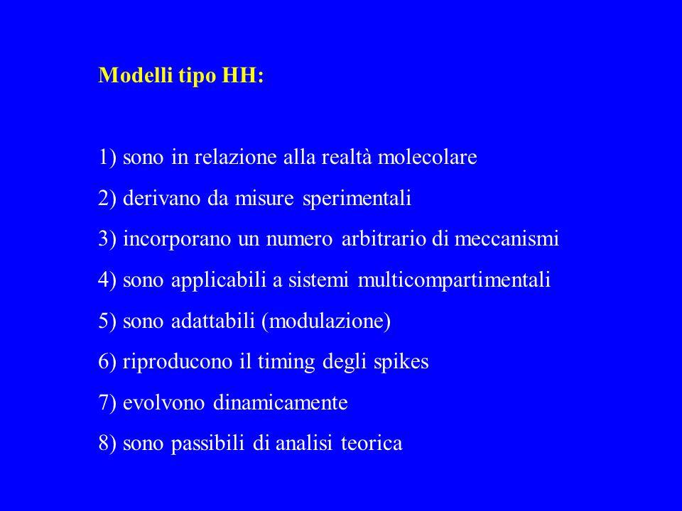 Modelli tipo HH: 1) sono in relazione alla realtà molecolare 2) derivano da misure sperimentali 3) incorporano un numero arbitrario di meccanismi 4) s