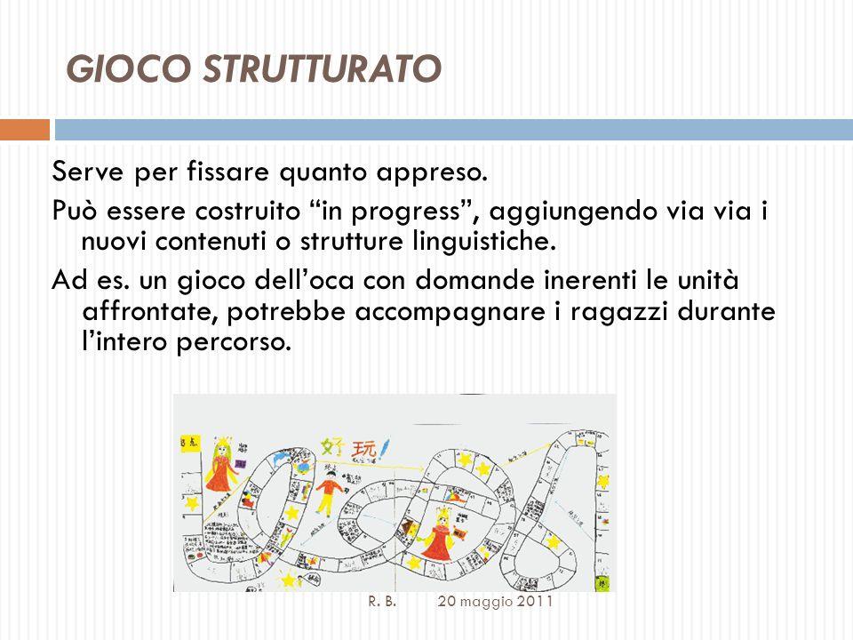 GIOCO STRUTTURATO R. B. 20 maggio 2011 Serve per fissare quanto appreso.