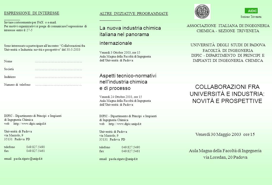 COLLABORAZIONI FRA UNIVERSITÀ E INDUSTRIA: NOVITÀ E PROSPETTIVE DIPIC - Dipartimento di Principi e Impianti di Ingegneria Chimica web http://www.dipic.unipd.it Università di Padova via Marzolo, 9 35131 Padova PD telefono 049.827.5490 fax 049.827.5461 email paola.rigato@unipd.it ESPRESSIONE DI INTERESSE Inviare cortesemente per FAX o e-mail.