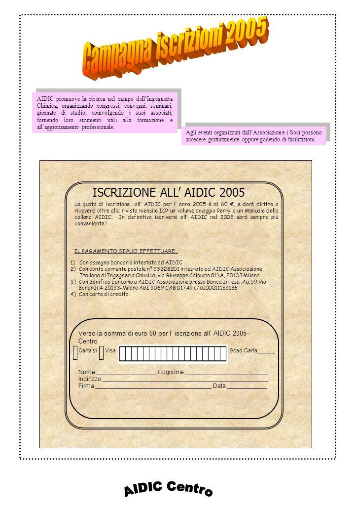 ISCRIZIONE ALL AIDIC 2005 1) Con assegno bancario intestato ad AIDIC 2) Con conto corrente postale n° 53228201 intestato ad AIDIC Associazione Italian