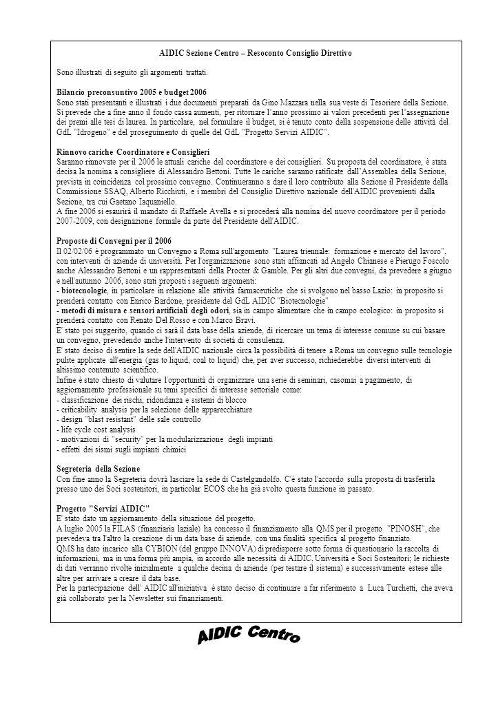 AIDIC Sezione Centro – Resoconto Consiglio Direttivo Sono illustrati di seguito gli argomenti trattati.