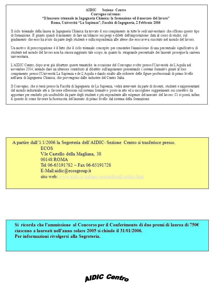 AIDIC Sezione Centro Convegno sul tema: Il laureato triennale in Ingegneria Chimica: la formazione ed il mercato del lavoro Roma, Università La Sapienza, Facoltà di Ingegneria, 2 Febbraio 2006 Il ciclo triennale della laurea in Ingegneria Chimica ha trovato il suo compimento in tutte le sedi universitario che offrono questo tipo di formazione.