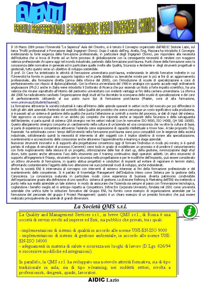 Convegno AIDIC H2:www a Pisa il 16-18 Maggio La Società QMS s.r.l.