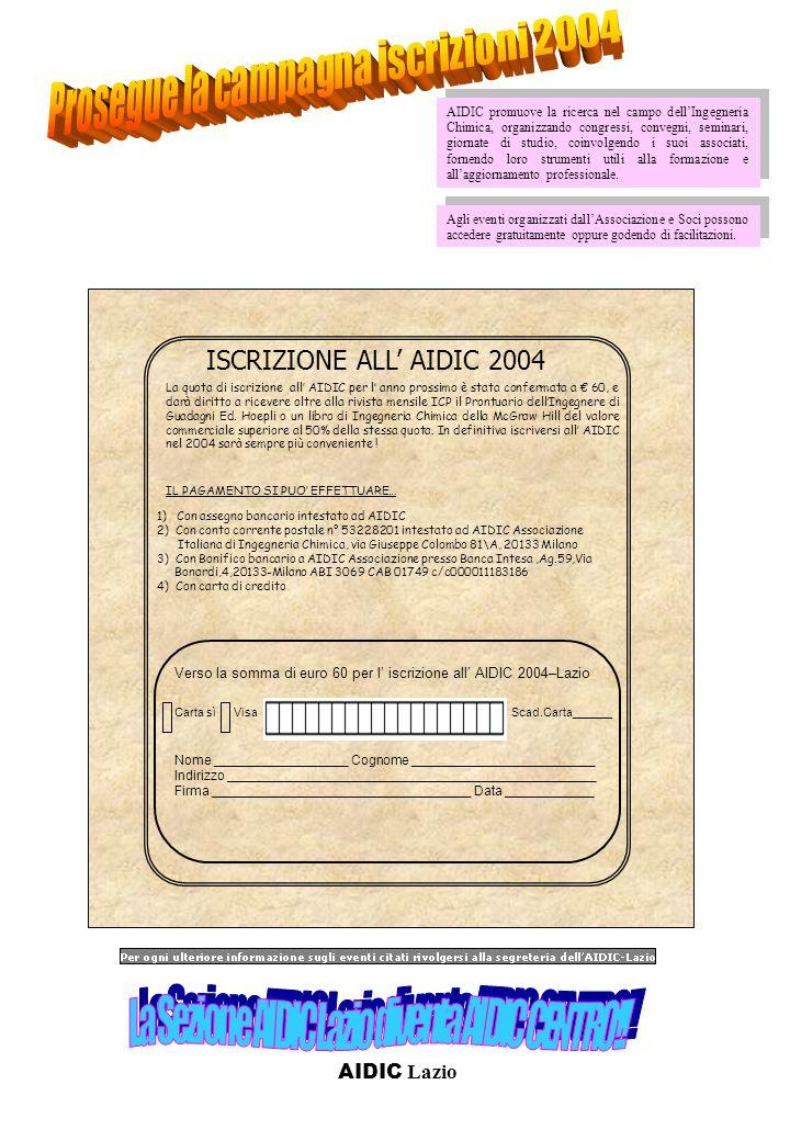 ISCRIZIONE ALL AIDIC 2004 1) Con assegno bancario intestato ad AIDIC 2) Con conto corrente postale n° 53228201 intestato ad AIDIC Associazione Italian