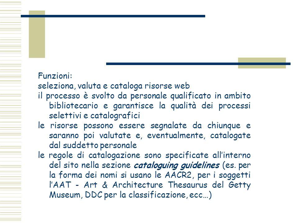 Funzioni: seleziona, valuta e cataloga risorse web il processo è svolto da personale qualificato in ambito bibliotecario e garantisce la qualità dei p