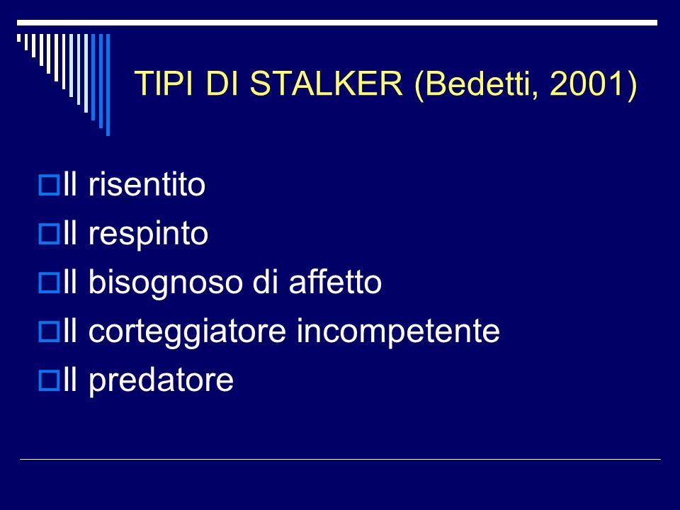 TIPI DI STALKER (Bedetti, 2001) Il risentito Il respinto Il bisognoso di affetto Il corteggiatore incompetente Il predatore