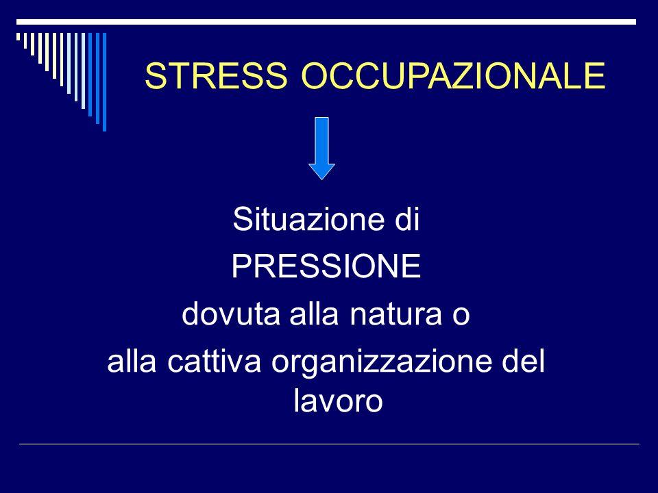 Situazione di PRESSIONE dovuta alla natura o alla cattiva organizzazione del lavoro STRESS OCCUPAZIONALE