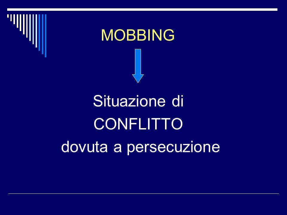 MOBBING Situazione di CONFLITTO dovuta a persecuzione