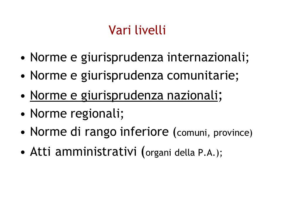 Vari livelli Norme e giurisprudenza internazionali; Norme e giurisprudenza comunitarie; Norme e giurisprudenza nazionali ; Norme regionali; Norme di rango inferiore ( comuni, province) Atti amministrativi ( organi della P.A.);