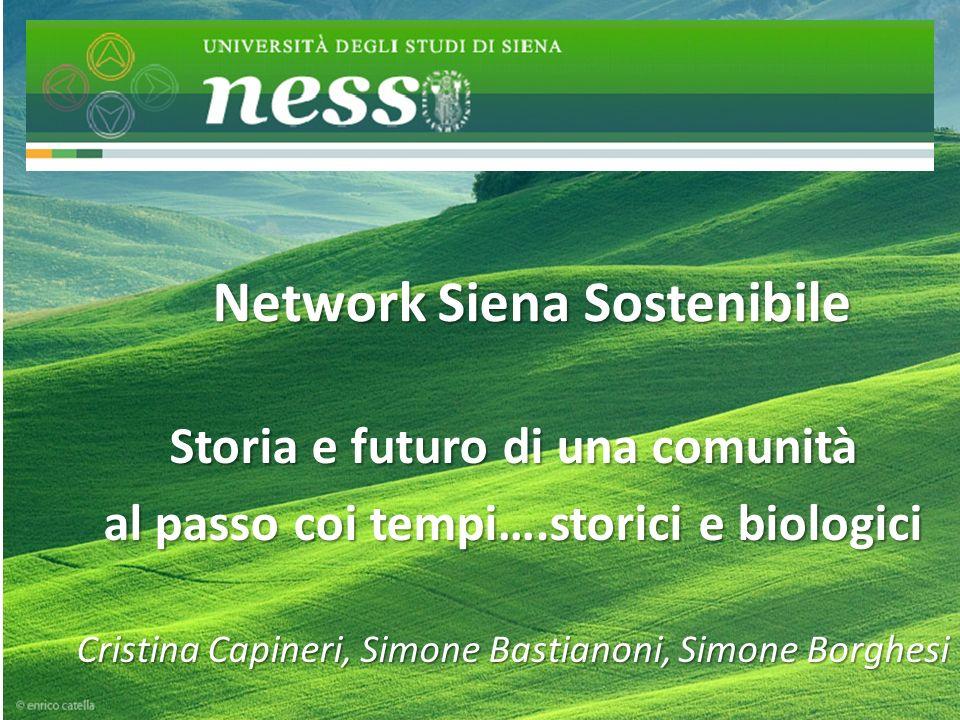 Network Siena Sostenibile Storia e futuro di una comunità al passo coi tempi….storici e biologici Cristina Capineri, Simone Bastianoni, Simone Borghesi