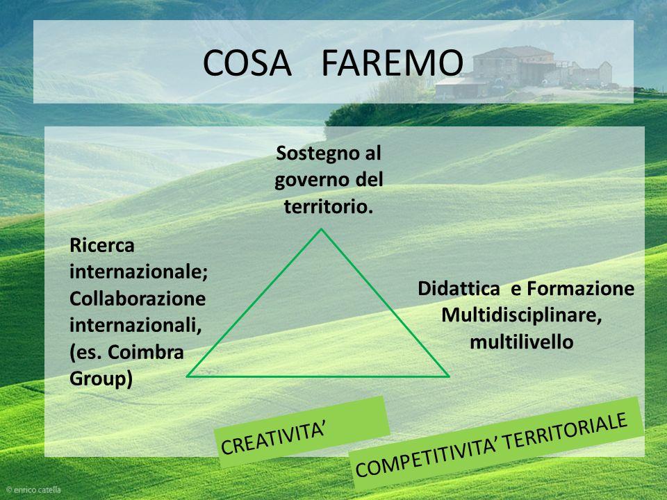 COSA FAREMO CREATIVITA COMPETITIVITA TERRITORIALE Didattica e Formazione Multidisciplinare, multilivello Ricerca internazionale; Collaborazione internazionali, (es.
