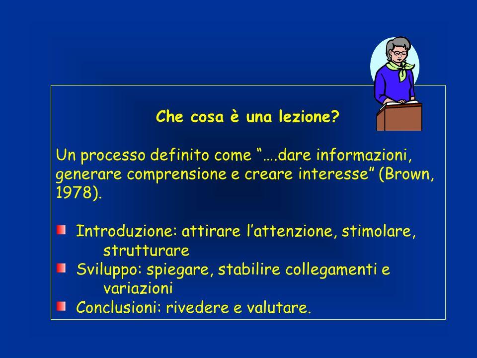 Che cosa è una lezione? Un processo definito come ….dare informazioni, generare comprensione e creare interesse (Brown, 1978). Introduzione: attirare