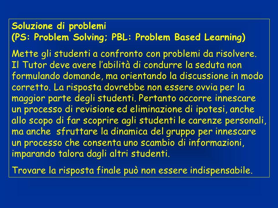 Soluzione di problemi (PS: Problem Solving; PBL: Problem Based Learning) Mette gli studenti a confronto con problemi da risolvere. Il Tutor deve avere