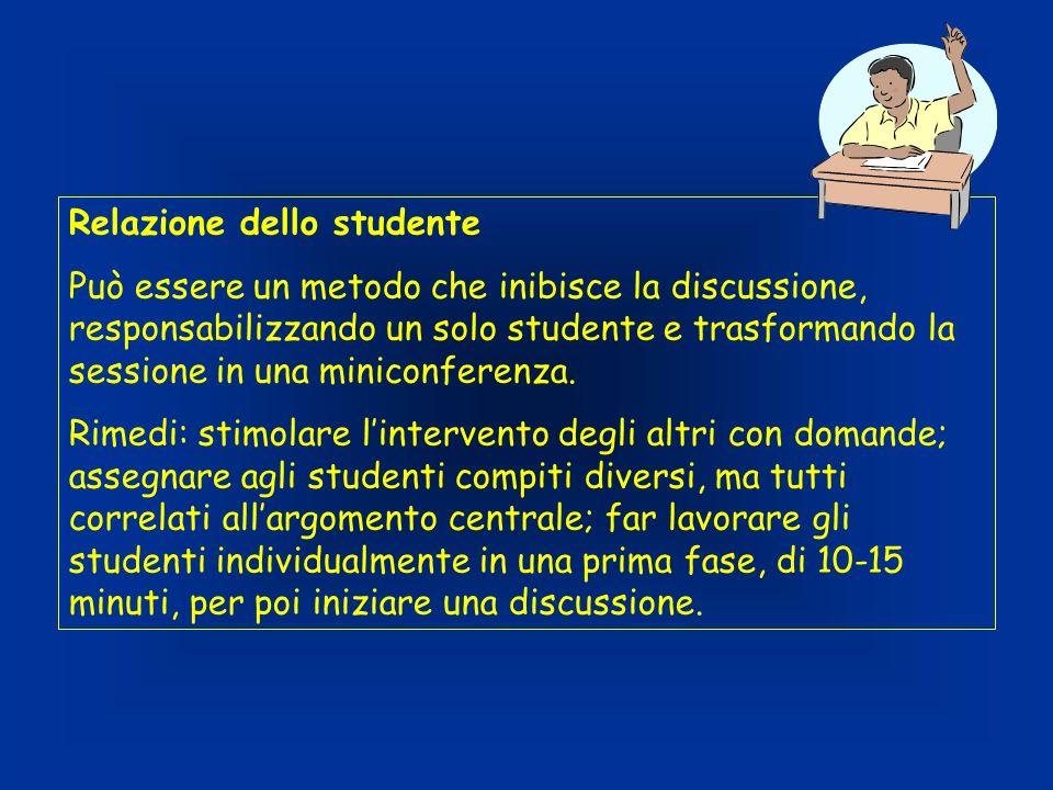Relazione dello studente Può essere un metodo che inibisce la discussione, responsabilizzando un solo studente e trasformando la sessione in una miniconferenza.